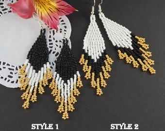 Black gold earrings Bohemian earrings Beaded boho earrings Gold black earrings Evening earrings Fashion earrings Gold tassel earrings gift
