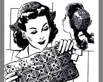 Vintage Mail Order Women's Hat And Purse Set Crocheting pattern One size #R2122