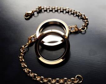 Large Gold Floating Locket Chain Bracelet-30mm-Twist/Screw Face-Stainless Steel-Gift Idea for Women