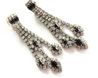 1970s Black and Clear Rhinestone Pierced Dangle Earrings Disco