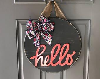 Hello Door Hanger, Spring Door Hanger, Wood Wreath, Year Round Wreath, Front Door Decor, Door Sign, Spring Door Decor, Round Welcome Sign
