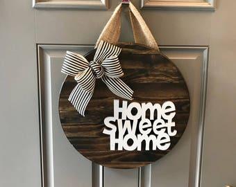 Home Sweet Home Door Hanger, Home Door Sign, Hello Door Hanger, Door Wreath, Anniversary Gift, Housewarming Gift, All Year Door Hanger