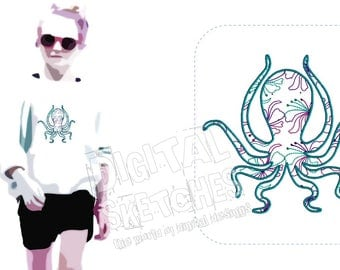 Octopus Machine Embroidery Design 3 Sizes