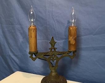 Sale Through Dec 24th UNIQUE 1930u0027s Art Deco Antique Cast Iron Candelabra Table  Lamp Art Nouveau