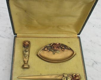 art nouveau bronze desk set with seal  Rigot