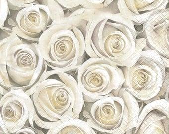 6 Decoupage Napkins with Roses. Paper Napkins for decoupage. Floral Paper Napkins. Paper Napkins Floral design.  set of 6 pcs