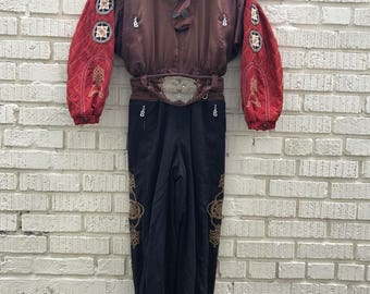90s Bogner Ski Suit. 1990s Brown Embroidered One Piece Pants and Jacket. Brown. Red. Black.