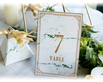 Table Numbers Cards - Marble-Print Place Cards - Wedding, Party Banquets Table Decors