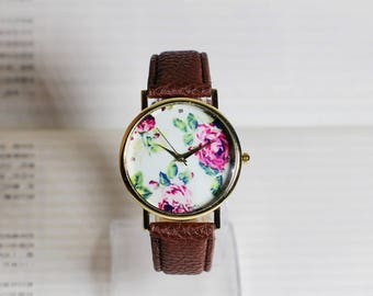 Vintage Rose,Vintage Style Leather Watch, Women Watches, Girlfriend watch