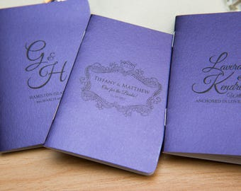 100+ Dark Purple Pearlised Mini Notebook Favours. Custom purple wedding favours, place cards. Unique Notepad favour. Personalised favours