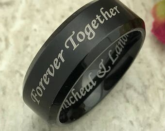 8mm Personalized Black Tungsten Wedding Band, Comfort Fit Ring, Custom Engraved Promise Ring, Couples Rings for Him and Her, Purity Ring