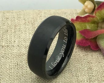 8mm Personalized Tungsten Ring, Custom Promise Ring for Him, Promise Ring for Her, Boyfriend Gift Ring, Purity Ring, Coordinates Ring