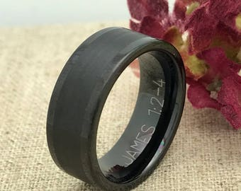 8mm Personalized Tungsten Ring, Custom Promise Ring for Him, Custom Date Ring, Friendship Ring, Purity Ring, His Wedding Band