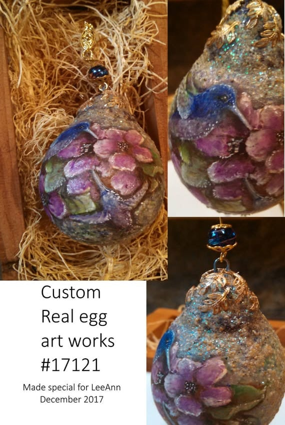 Custom hand painted miniature gardens personalized fine art egg ornaments original acrylic paintings beaded eggs floral paintings real eggs
