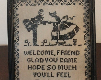 """Black and White Cross-Stitch Sampler – """"Welcome Friend"""""""