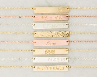 Gold, Rose Gold or Silver Bar Necklace, Custom Gold Bar, Engraved Necklace, Customized Name Bar Necklace, Personalized Gold Bar Necklace