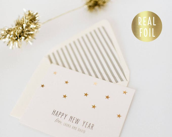 personalized gold foil new years / holiday cards + lined envelopes (set of 10) // non photo christmas holiday corporate cards