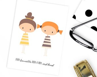 Personalised Best friend card 'Every brunette needs a fiery red head'
