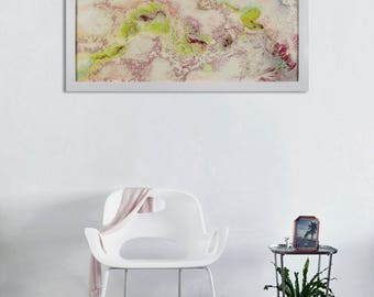 Modern wall Hanging, Modern Wall decor, Unusual Wall Art, Unique Art, Glass Wall Art, Framed, Green and Red, Green and White, Abstract Art