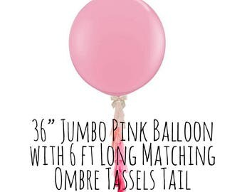 "Big Pink Balloon with Ombre Pink Tassels Tail, 36"" White Balloon Fringe, Big Light Up LED Balloon, Party Decorations, Wedding, Photo Prop"