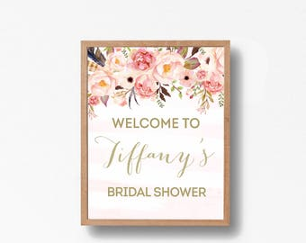Bridal Shower Welcome Sign. Bridal Shower sign, Bridal Shower decoration, PRINTABLE Welcome sign, pink gold party decor  0001