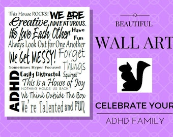 Wall Art/ Printable Wall Art/ADHD/ Home Decor/ Typography Print/ Instant Download/ Wall Art Print/ Word Art printable/ PDF/ Black and White