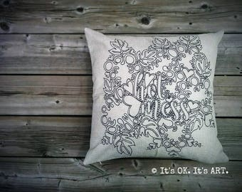 Hot Mess-Adult Coloring Pillow COVER ONLY-Funny pillow, couch cushion, decor pillow, adult colouring pillow, girl power, throw pillow