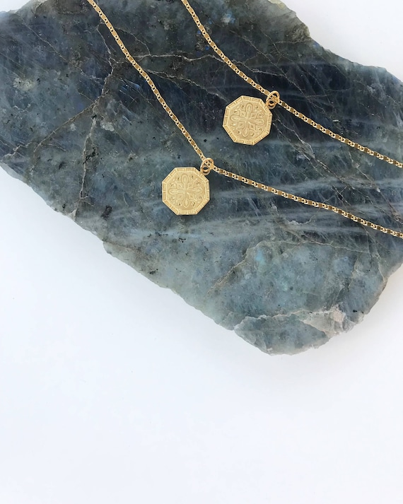 Claire Coin Necklace // vintage gold brass medallion necklace