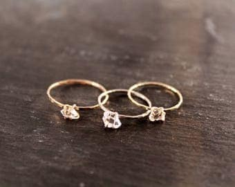 Herkimer Diamond Hammered Ring (Gold Sterling Silver Rose Gold Raw Quartz Bridal Party Bridesmaid Alternative Engagement Wedding Gift)