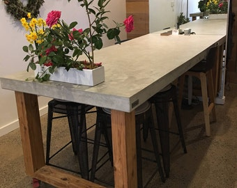 Rectangular Polished Concrete Dining Table With Loop End Timber Base, Real Concrete  Patio Outdoor/
