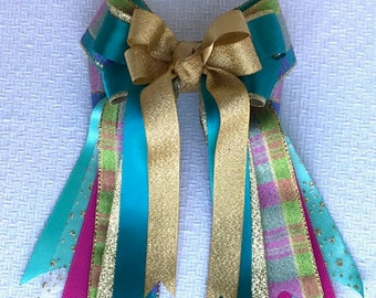 Holiday Equestrian Bows/Hair Accessory/Teal Green Gold plaid