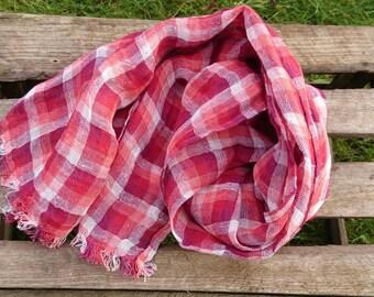 Plaid LINEN scarf, red linen scarves, mens linen scarf, womens linen scarf, linen shawl, pure linen scarf, long linen scarf, fringed scarf