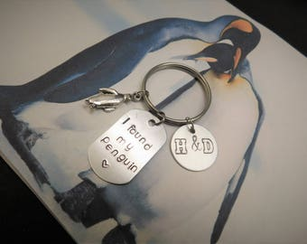 Personalized Keychain - I found my Penguin - Couple Initial Monogram - Anniversary Gift
