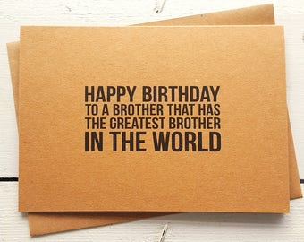 Funny Birthday Card - Funny Brother Card - Brother Birthday Card - Card For Brother - Brother Cards - Handmade Cards - Funny Greeting Cards