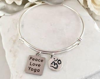 Peace Love Yoga Bracelet/Yoga Gift/Yoga Jewelry/Yoga Lover/Peace Bracelet/Love Bracelet/Bohemian Bracelet/Yoga Instructor Gift