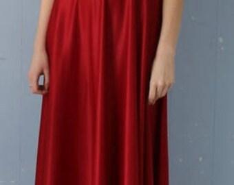 Vintage Ruby Red 70s Maxi Dress/Boho/Spaghetti Straps/Cami Top/
