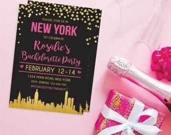 New York bachelorette weekend invitation New York bridal shower invitation itinerary New York party invitation printable NY invitation  284