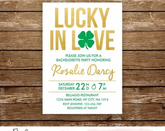 St Patricks bachelorette party invitation lucky in love bachelorette invitation irish bachelorette clover invitation st patricks invite 235