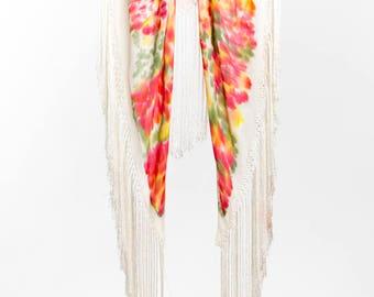 Crepe de China fabric, Silk crepe de china, Silk shawl Hand painted, Handkerchief with white fringe, Shawl with fringe, OOAK