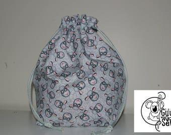 Knitting / Crochet Drawstring Project Bag. Knitting Phrases design! Choose the interior color!