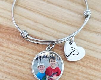 photo bracelet, personalized photo bracelet, photo jewelry, photo gifts, picture bracelet, bangle bracelet, mothers day gift