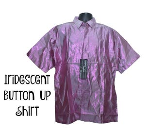 80s IRIDESCENT BUTTON UP Shirt Size Large xl Extra Large Pink Shiny Metallic Freeport Fashions 1980s Party Style Fashion Collared Shirt