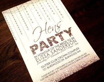 Hens Party Invite | Printable Hens Party Invitation | Bridal Shower Invite | Bachelorette Party Invitation - Silver Glitter Design