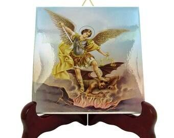 Saint Michael the Archangel ceramic - catholic plaque - tile - icon perfect religious gift for him / decor - wall art Mod.5