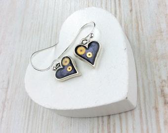 Purple Heart Earrings. Little Heart Earrings. Tiny Silver Earrings. Bridesmaid Gift. Watch Part Earrings. Small Heart Earrings. Small Drop