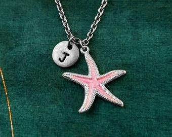 Pink Starfish Keychain SMALL Starfish Jewelry Ocean Necklace Beach Necklace Beach Jewelry Personalized Initial Necklace Monogram Necklace
