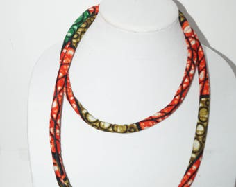 Extra Long Versatile African print Rope Necklace