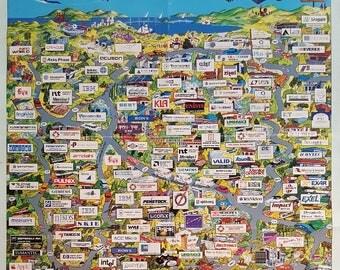 1991 San Francisco Bay Map Silicon Valley - Original Vintage Poster