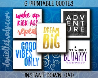 Printable Collage Sheet Typography Motivational Quotes Scrapbooking Images