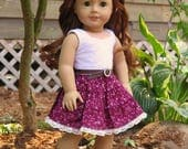 18 Inch Doll Burgundy Tiered Dress - Lace & Calico Western Doll Dress - Red Summer Doll Dress - American Made Girl Doll Clothes